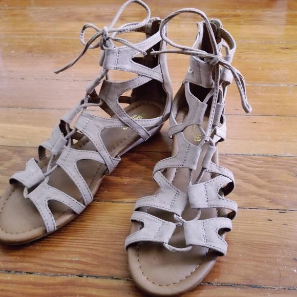4bcbfea35f Crown Vintage Shoes   Sarah Wedge Gladiator Sandal   Poshmark